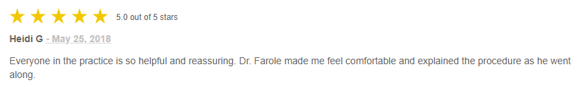 A 5 Star Review of Dr. Farole.